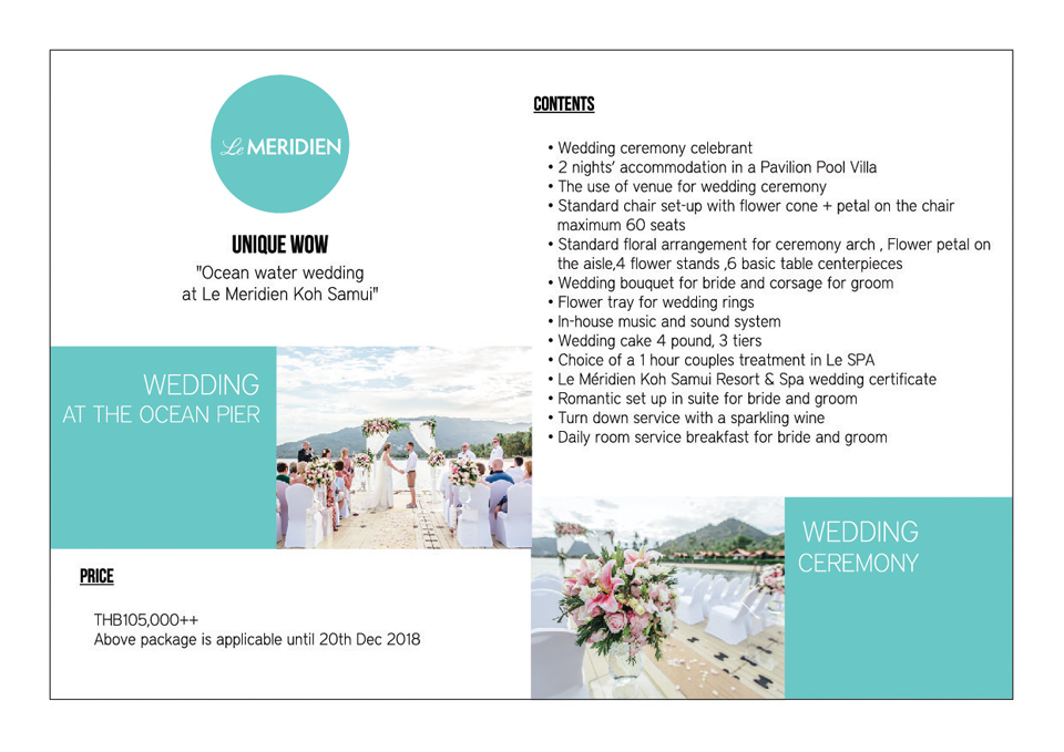 Wedding Package in Le Meridien Koh Samui Resort & Spa