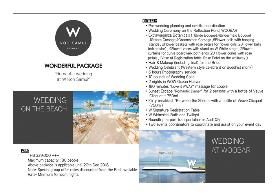 Wedding Package in W Retreat Koh Samui